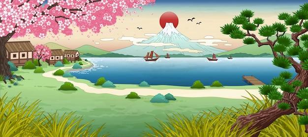 Горный пейзаж укиё-э-фудзи с красивым озером