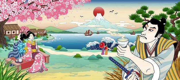 Японцы в стиле укиё э пьют рисовое вино или чай и смотрят на красивую гору фудзи.