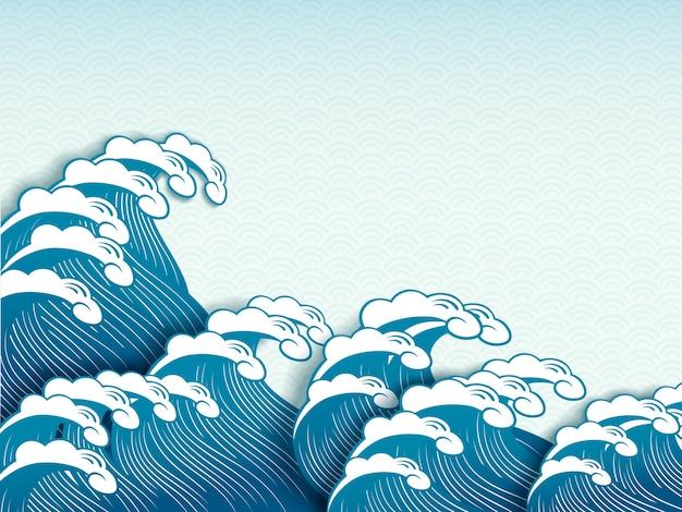 Ukiyoe style wave dynamic wave in paper art design