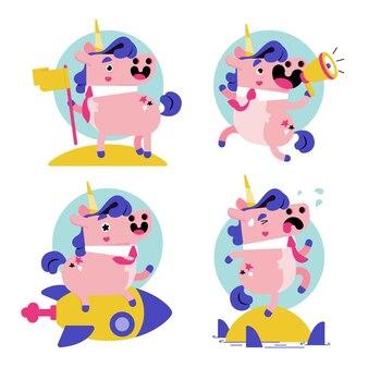 Ukko the unicorn sticker set