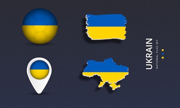Ukrain national country wave flag set