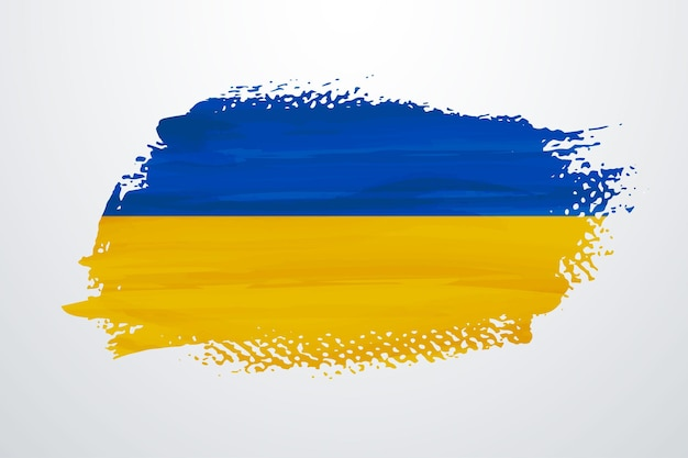 Ukraine brush paint flag