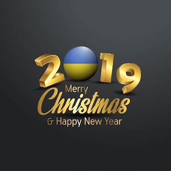 Ukraine flag 2019 merry christmas typography