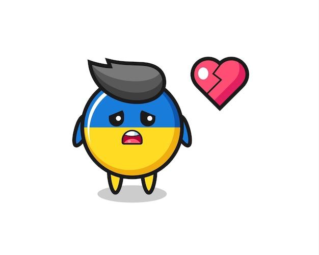 Иллюстрация шаржа значка флага украины - разбитое сердце, милый стиль дизайна для футболки, наклейки, элемента логотипа