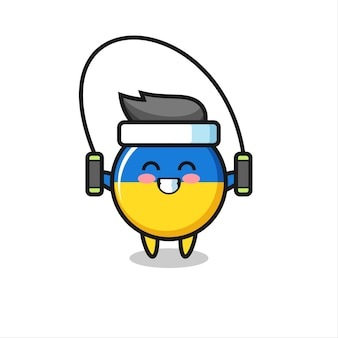 Ukraine flag badge character cartoon with skipping rope , cute style design for t shirt, sticker, logo element