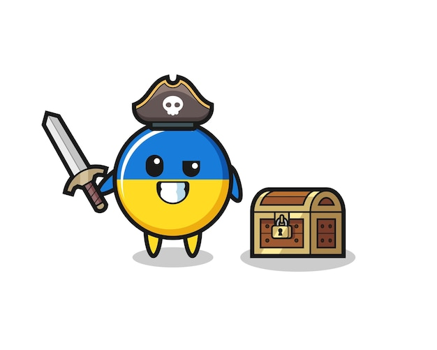 The ukraine flag badge pirate character holding sword beside a treasure box , cute style design for t shirt, sticker, logo element