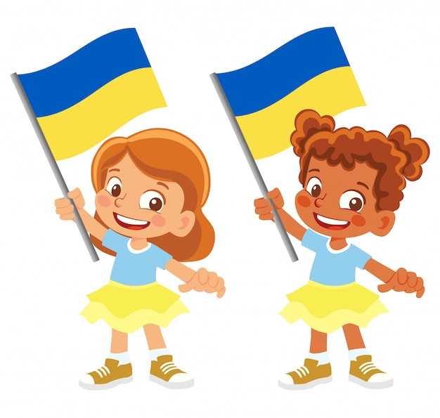 Флаг украины в руке установлен