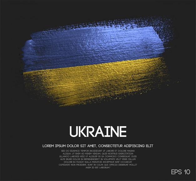 Ukraine flag made of glitter sparkle brush paint
