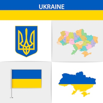 Ukraine flag map and coat of arms