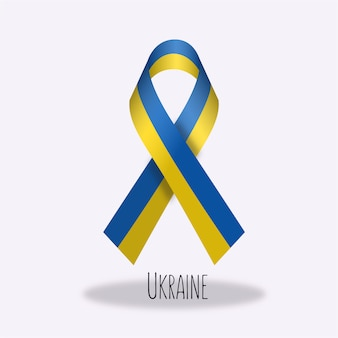 Ukraine flag ribbon design