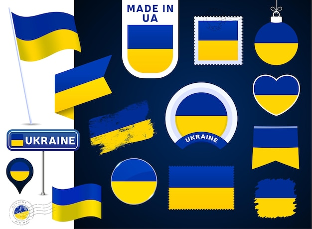 Ukraine flag vector collection. big set of national flag design elements in different shapes for public and national holidays in flat style. post mark, made in, love, circle, road sign, wave