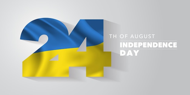 Ukraine happy independence day greeting card banner vector illustration