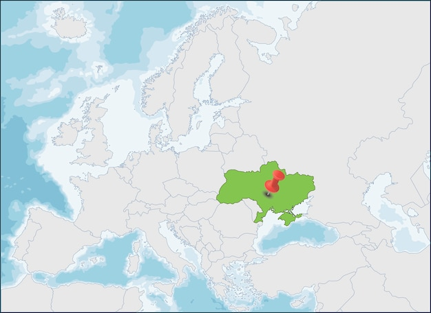 Ukraine location on eastern europe map,   illustration