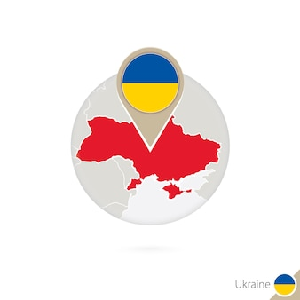 Карта украины и флаг в круге. карта украины, булавка флага украины. карта украины в стиле земного шара. векторные иллюстрации.