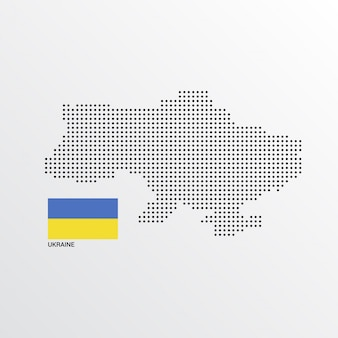 Ukraine map design with flag and light background vector
