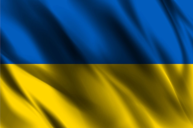 Украина национальный флаг развевается шелковый фон