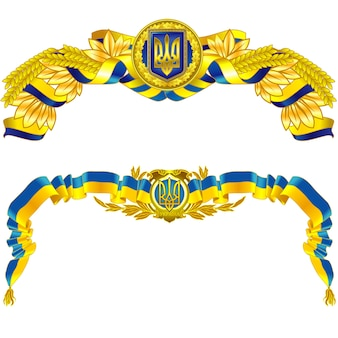 Ukraine state symbol in blue and yellow color