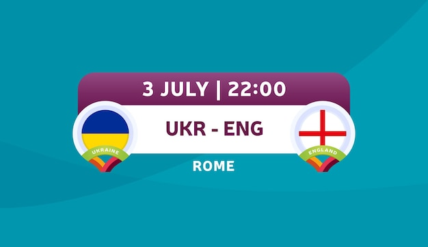 Ukraine vs england match vector illustration football 2020 championship