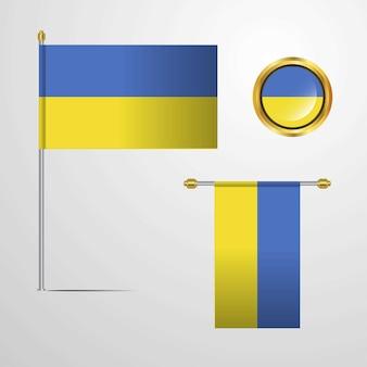 Ukraine waving flag  with badge