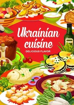 Ukrainian cuisine chicken noodle, smazhenina with herring or kherson yushka. chicken stabbed, kiev herring, galushki or pike, povidlanka, cherry dumplings