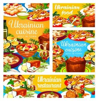 Ukrainian cuisine galushki, chicken stabbed and noodle, smazhenina with herring