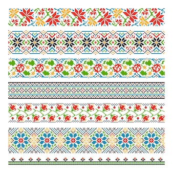 Ukrainian ethnic national border seamless patterns for embroidery stitch