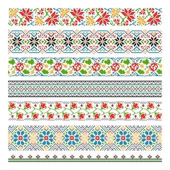 刺繍ステッチのためのウクライナの民族国境シームレスパターン