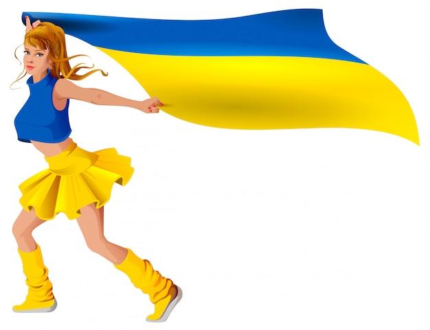 Украинская девушка спортивный болельщик держит флаг. футбольный гол