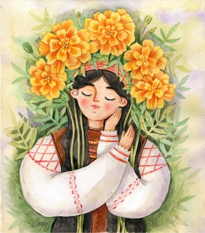 Ukrainian girl in traditional dress with wreath of marigold illustration ukraine consept
