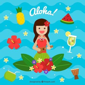 Ukulele girl aloha background