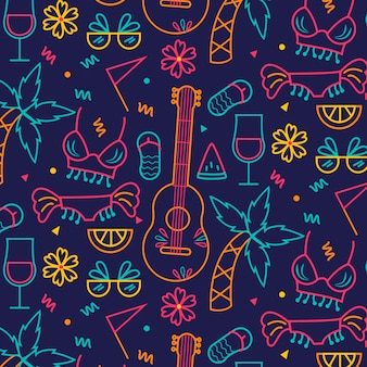 Ukulele guitar and plants seamless carnival pattern