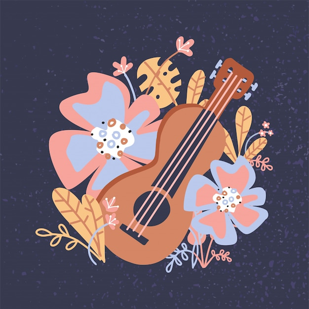 Ukulele and tropical leaves, flowers. wooden acoustic guitar for musical instruments store poster design.