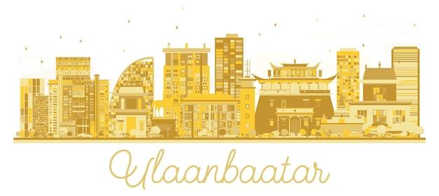 Золотой силуэт горизонта города улан-батор, монголия. векторная иллюстрация. простая плоская концепция для туристической презентации, баннера, плаката или веб-сайта. улан-батор городской пейзаж с достопримечательностями.