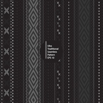 Ulos traditional batik indonesia seamless dark color pattern background