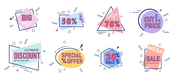 궁극의 할인가격대와 메가세일 스티커 세트입니다. 독점 쇼핑 광고, 특별 소매 판촉 쿠폰, 슈퍼 태그 광고 통관 엠블럼 벡터 일러스트 레이 션 흰색 절연