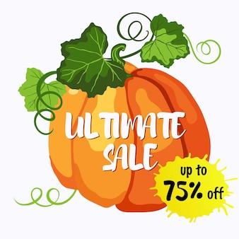 オレンジ色の熟したカボチャ、緑の葉と茎のステッカーベクトルデザインを最大75オフの究極の販売