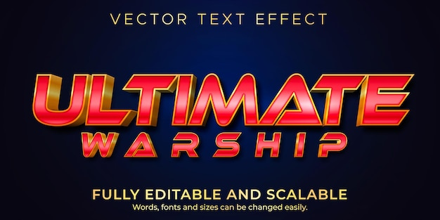 Ultimate warship text effect, editable war and hero text style
