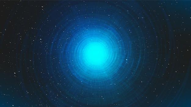 은하 배경에 나선형 블랙홀이있는 울트라 블루 성운. 행성 및 물리학 개념 n, 그림.