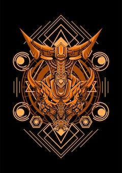 Ultra head geo mecha illustration vector illustration mecha head