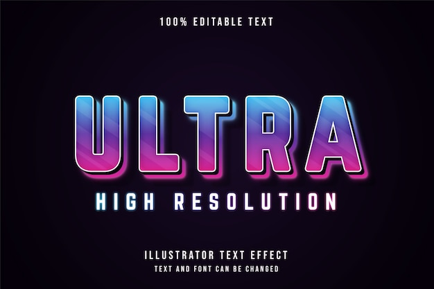 Ultra high resolution, editable text effect blue gradation purple pink neon text style