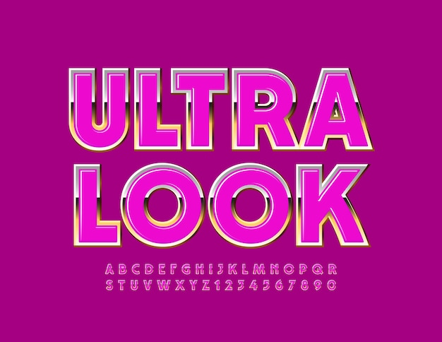 Ultra look. glamour shiny font. pink and gold alphabet letters and numbers set