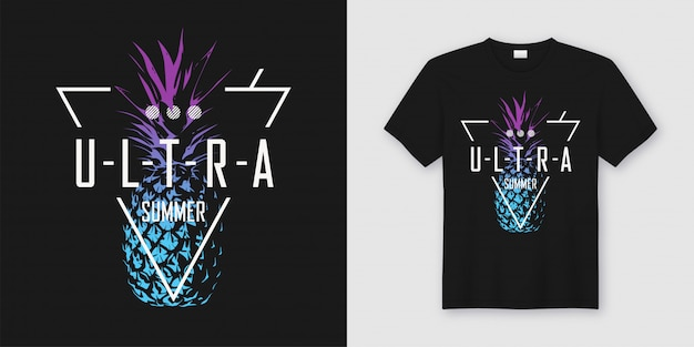 Ultra summer, stylish t-shirt and apparel modern  with neon style pineapple