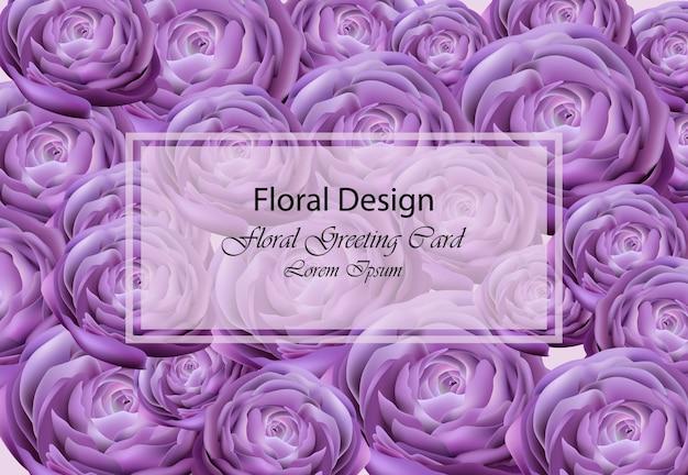 ウルトラバイオレット牡丹花カードベクトル。美しい背景の花のトレンディなデザイン