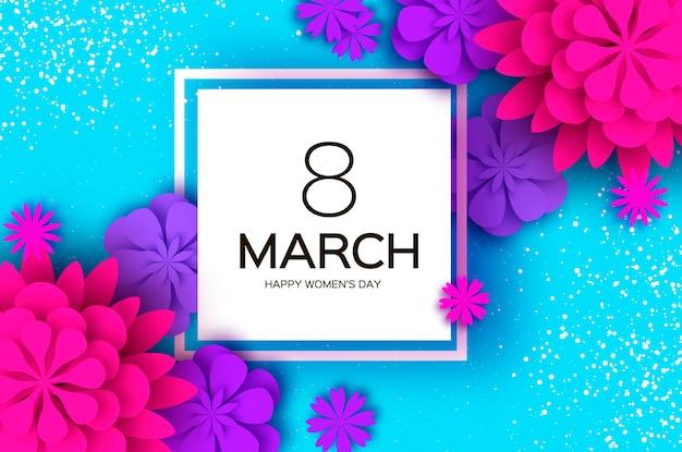 ウルトラバイオレットピンクの切り花。 3月8日。女性の日のグリーティングカード。折り紙フローラルブーケ。正方形のフレーム。テキスト。
