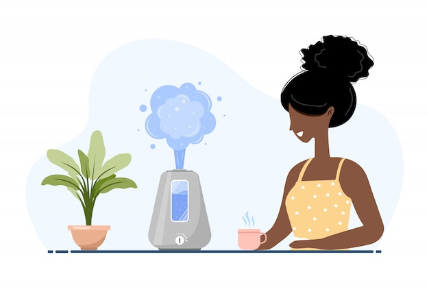 Ultrasonic air humidifier with house plants. african american woman enjoys the fresh moist air at home. home appliances for a healthy lifestyle. modern illustration in flat cartoon style.