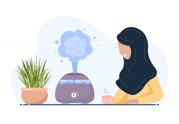 Ultrasonic air humidifier with house plants. arab woman enjoys the fresh moist air at home. home appliances for a healthy lifestyle. modern vector illustration in flat cartoon style.