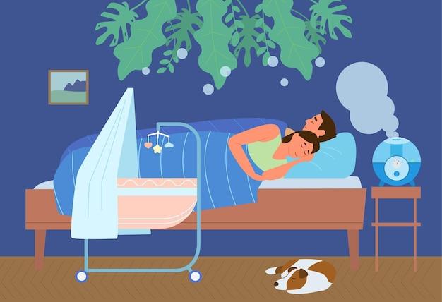 Ультразвуковой увлажнитель воздуха в спальне с семейным сном