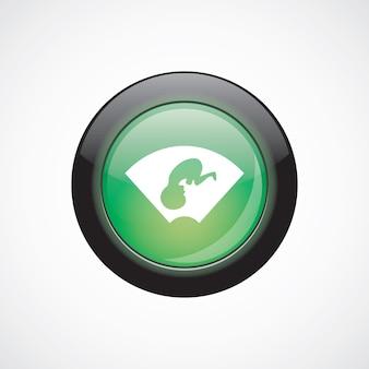 초음파 아기 유리 기호 아이콘 녹색 반짝이 버튼입니다. ui 웹사이트 버튼