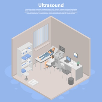 Ultrasound concept banner, isometric style