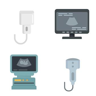 Набор иконок ультразвука. плоский набор ультразвуковых векторных иконок, изолированные на белом фоне
